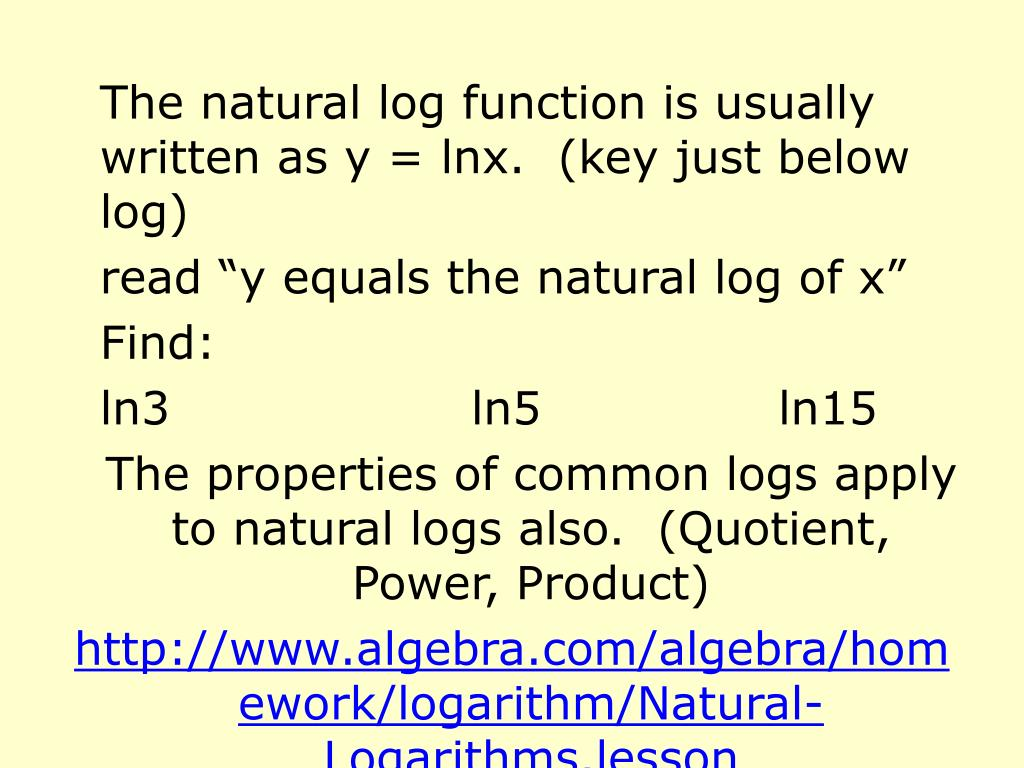 The natural log function is usually written as y = lnx.  (key just below log)