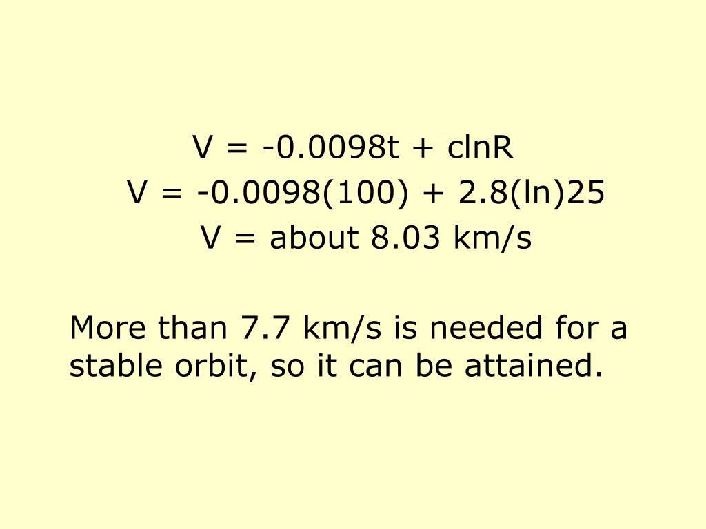 V = -0.0098t + clnR