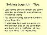 solving logarithm tips