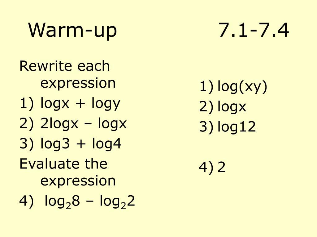 Warm-up7.1-7.4