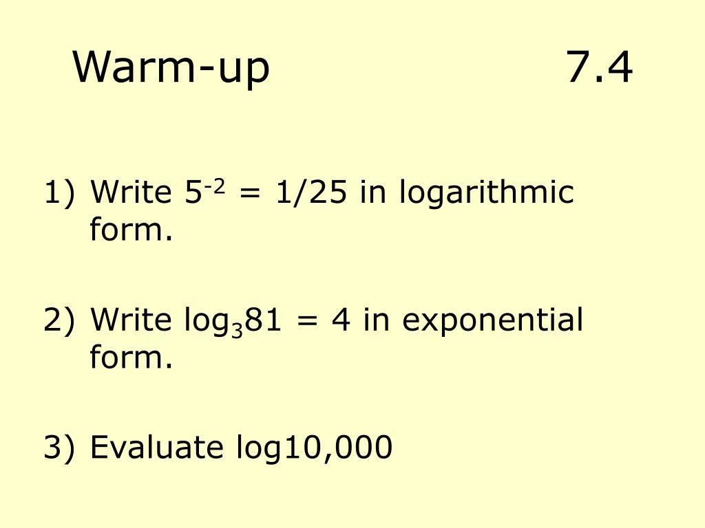 Warm-up7.4