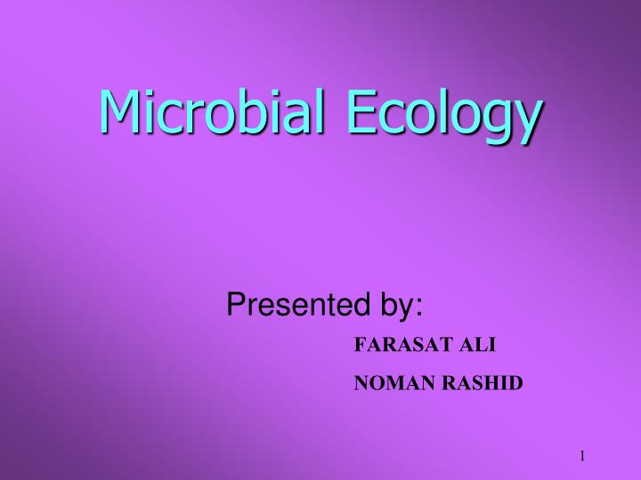 microbial ecology n.