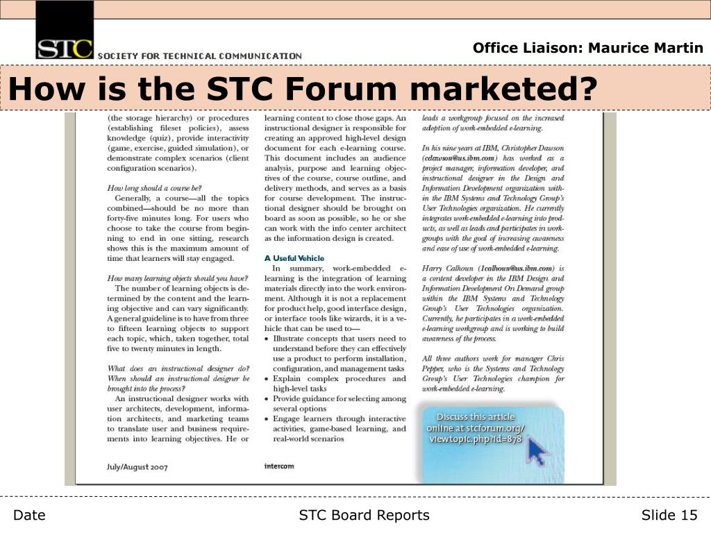 How is the STC Forum marketed?