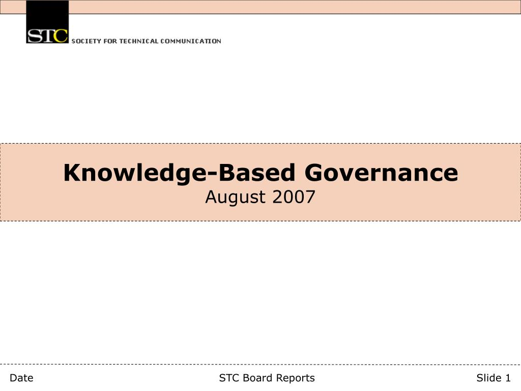 knowledge based governance august 2007 l.