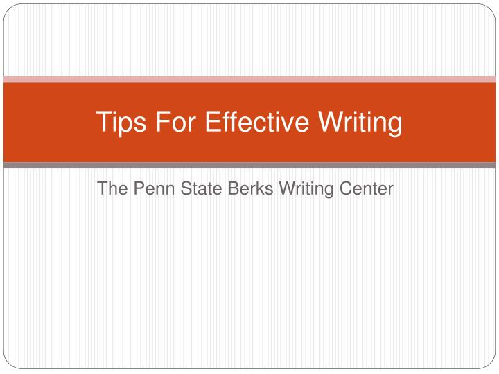 tips for effective writing n.