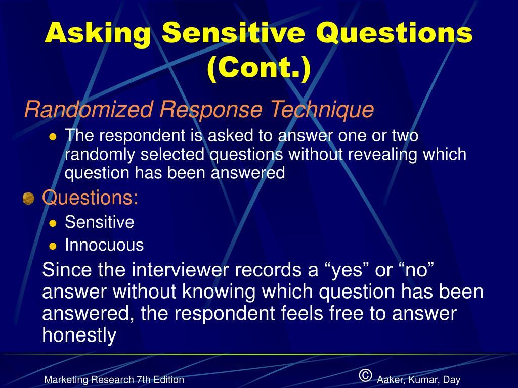 Asking Sensitive Questions (Cont.)