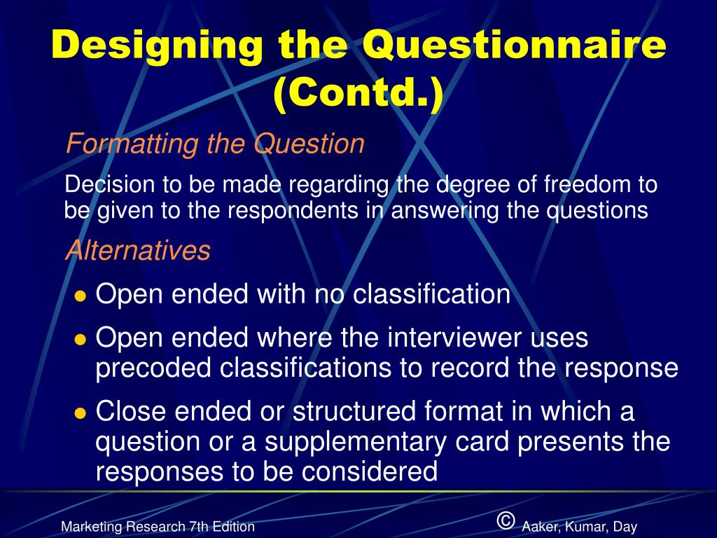 Designing the Questionnaire (Contd.)