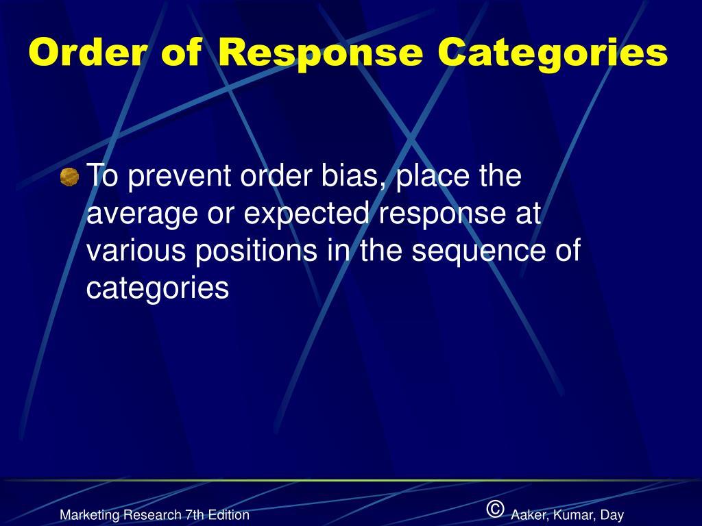 Order of Response Categories