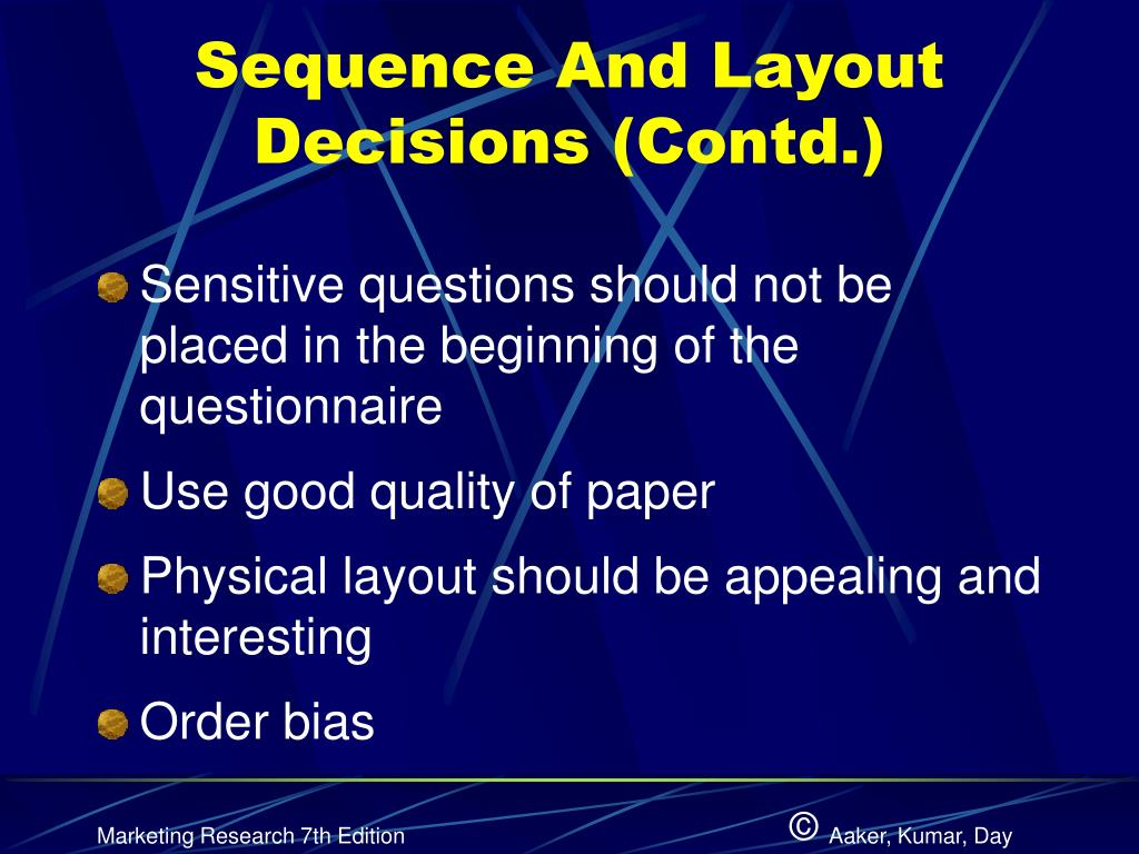 Sequence And Layout Decisions (Contd.)