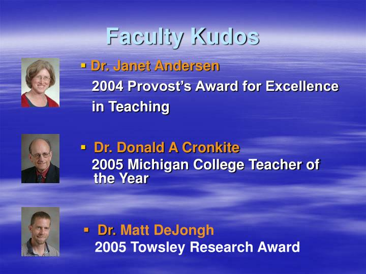 Faculty kudos