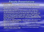 faculty presentations