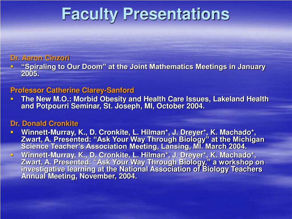 Faculty Presentations