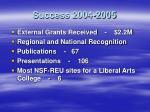 success 2004 2005