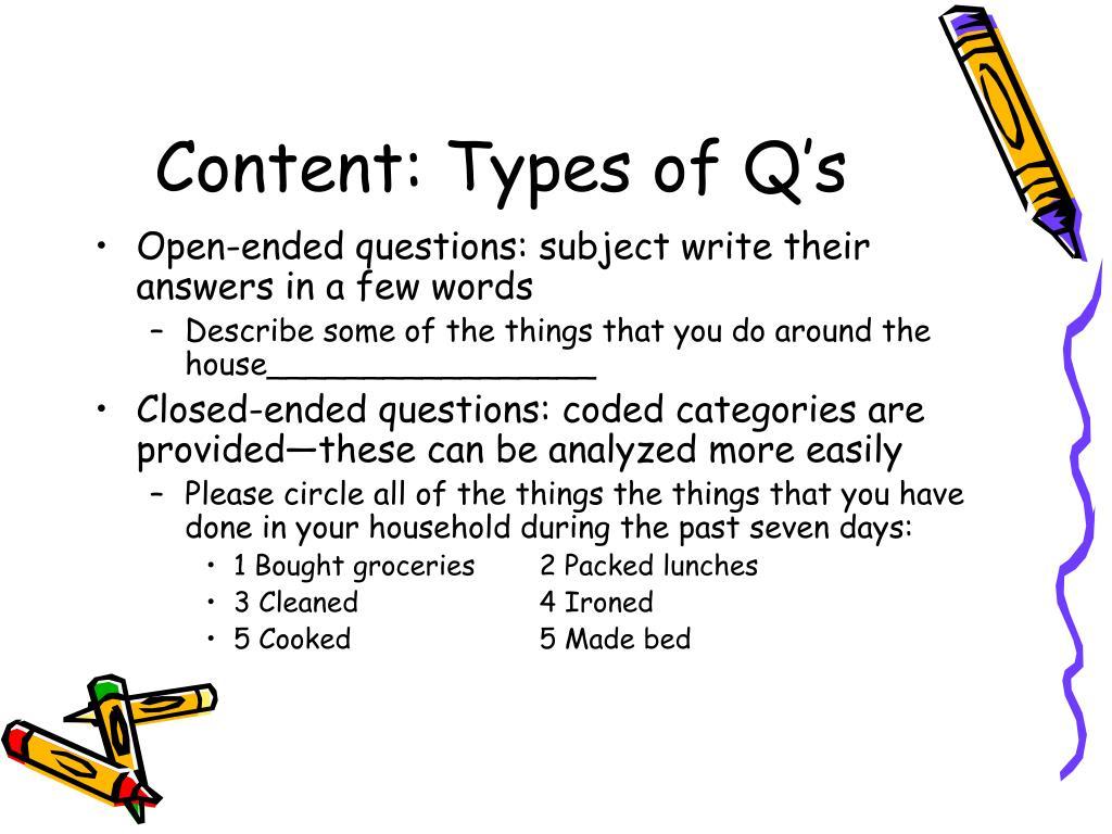 Content: Types of Q's