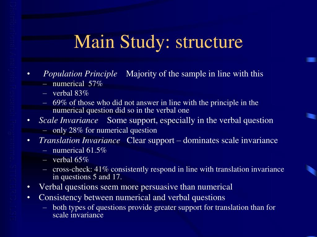 Main Study: structure