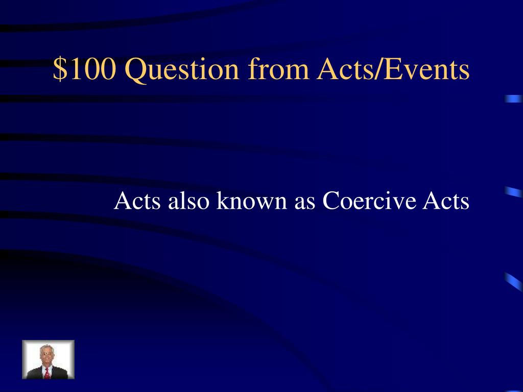 $100 Question from Acts/Events