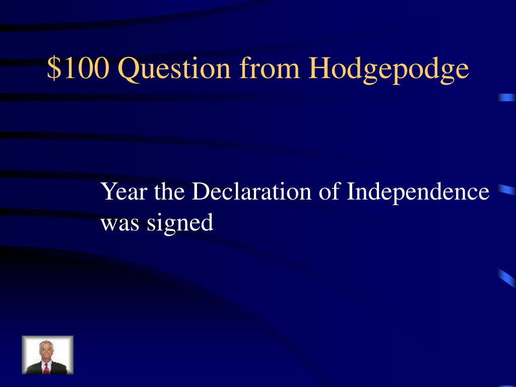 $100 Question from Hodgepodge