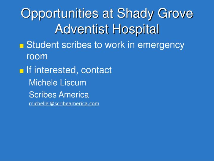Opportunities at shady grove adventist hospital