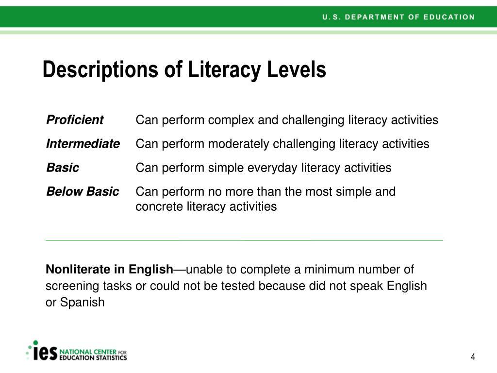 Descriptions of Literacy Levels