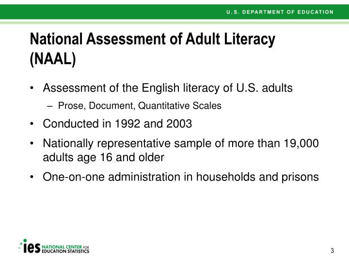 National assessment of adult literacy naal