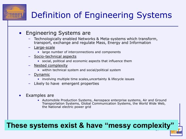Definition of Engineering Systems
