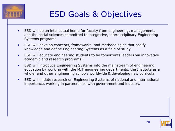 ESD Goals & Objectives