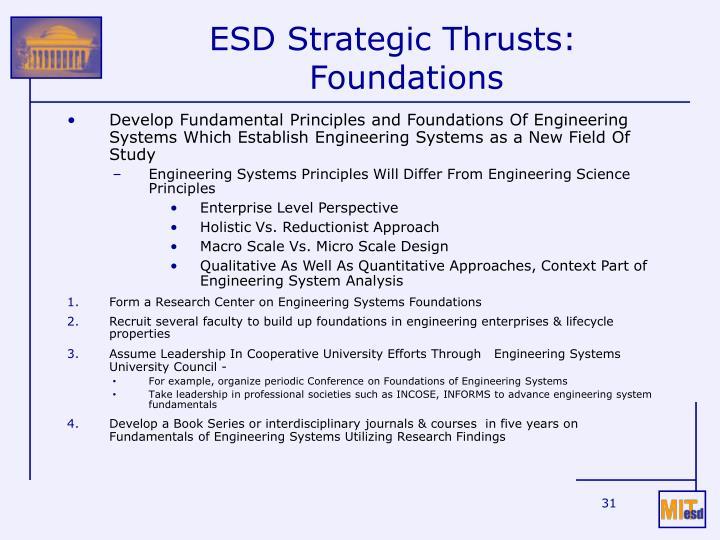 ESD Strategic Thrusts: Foundations