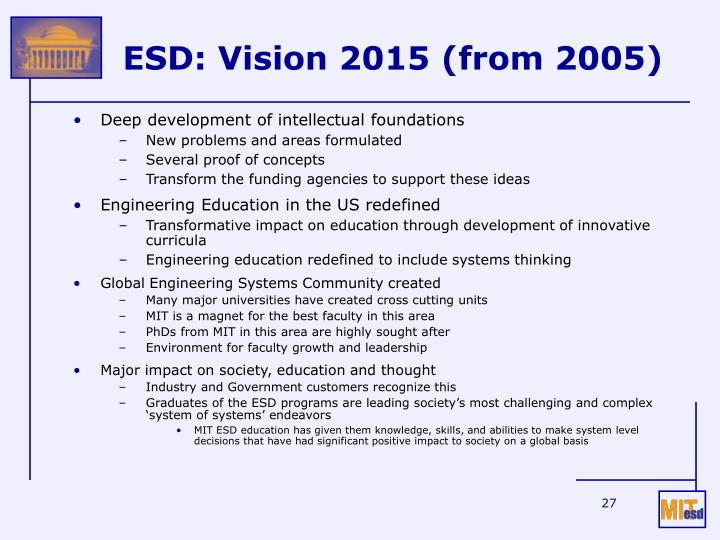 ESD: Vision 2015 (from 2005)