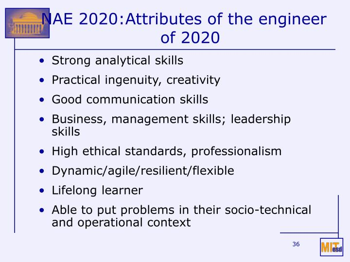 NAE 2020:Attributes of the engineer of 2020