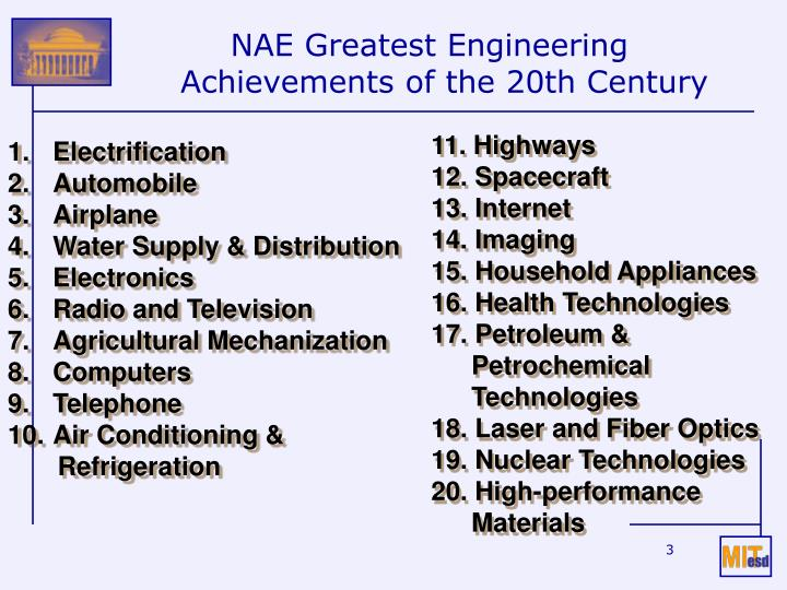 Nae greatest engineering achievements of the 20th century