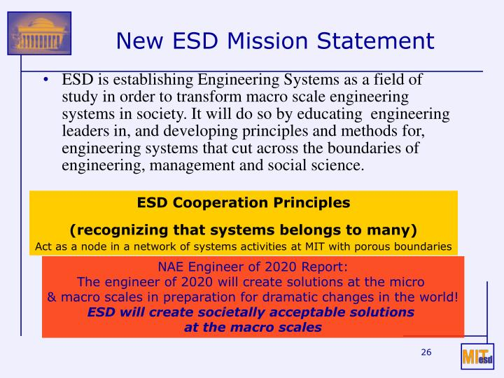 New ESD Mission Statement
