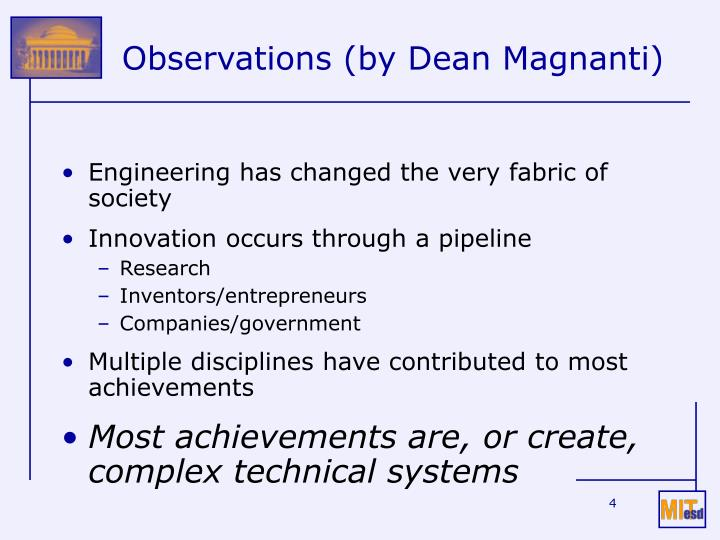 Observations (by Dean Magnanti)