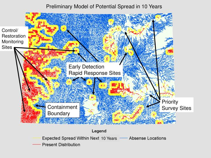 Preliminary Model of Potential Spread in 10 Years