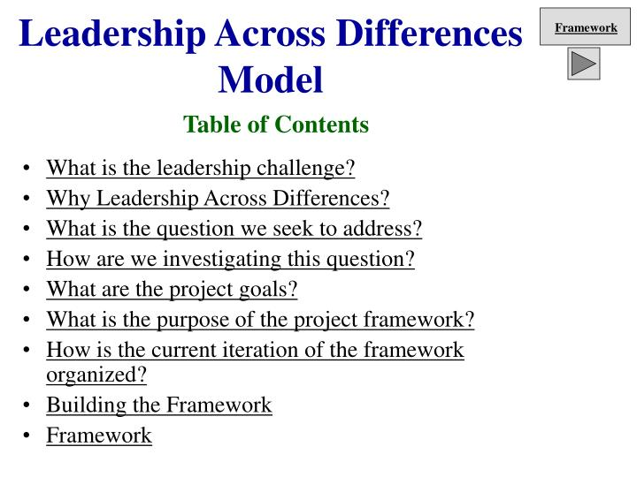 Leadership across differences model