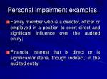 personal impairment examples