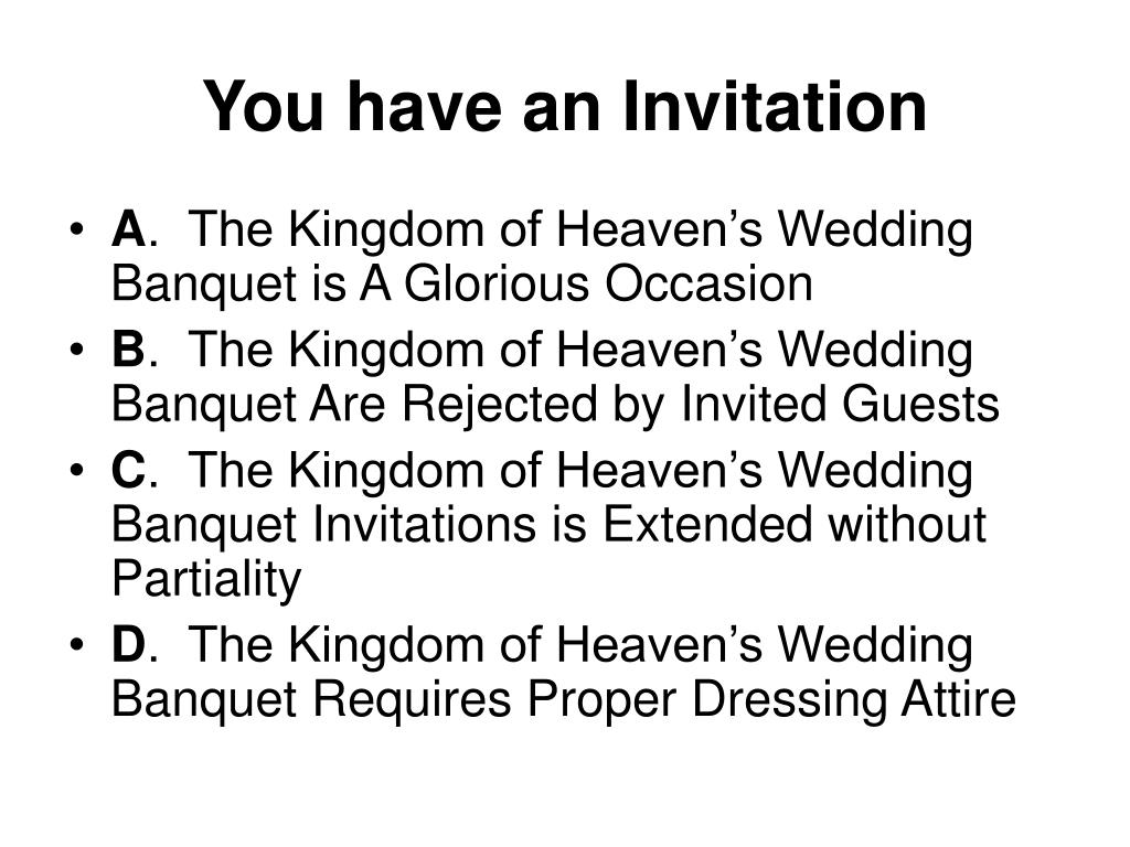 Ppt The Kingdom Of Heaven S Wedding Banquet Powerpoint