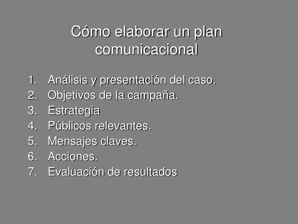 Cómo elaborar un plan comunicacional
