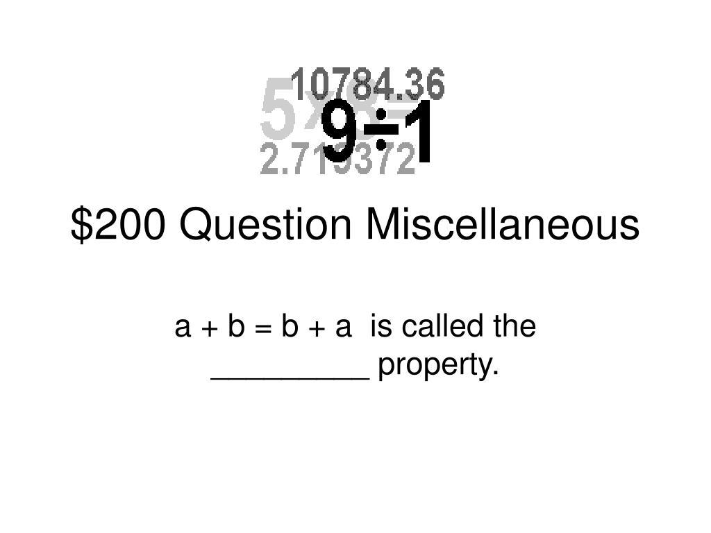 $200 Question Miscellaneous
