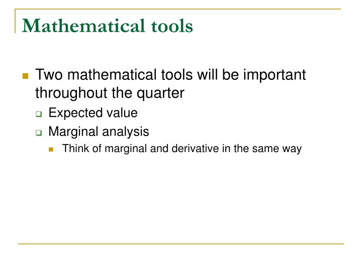 Mathematical tools