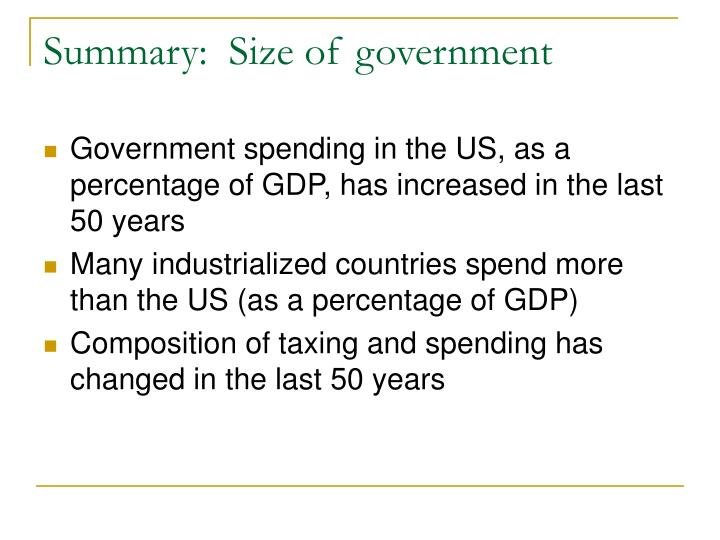 Summary:  Size of government
