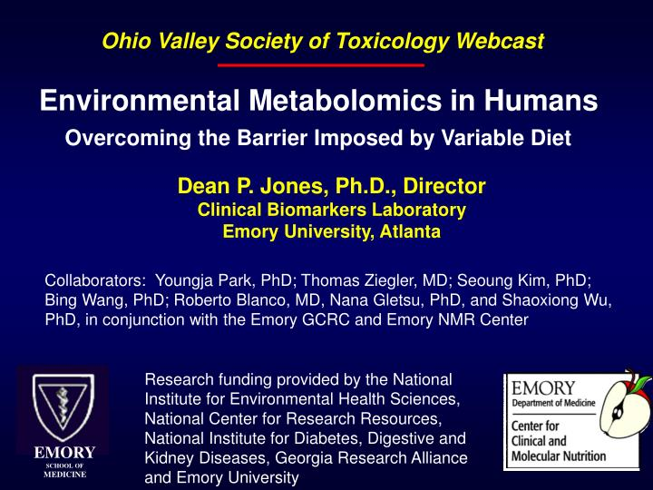 environmental metabolomics in humans overcoming the barrier imposed by variable diet n.