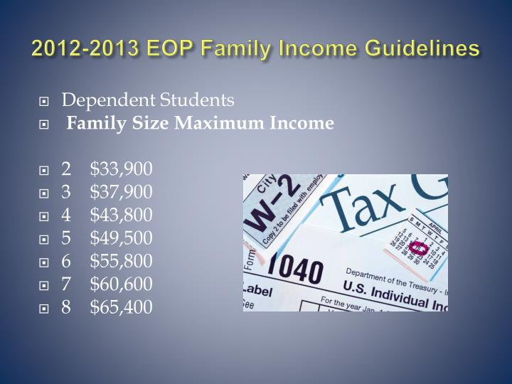 2012-2013 EOP Family Income Guidelines