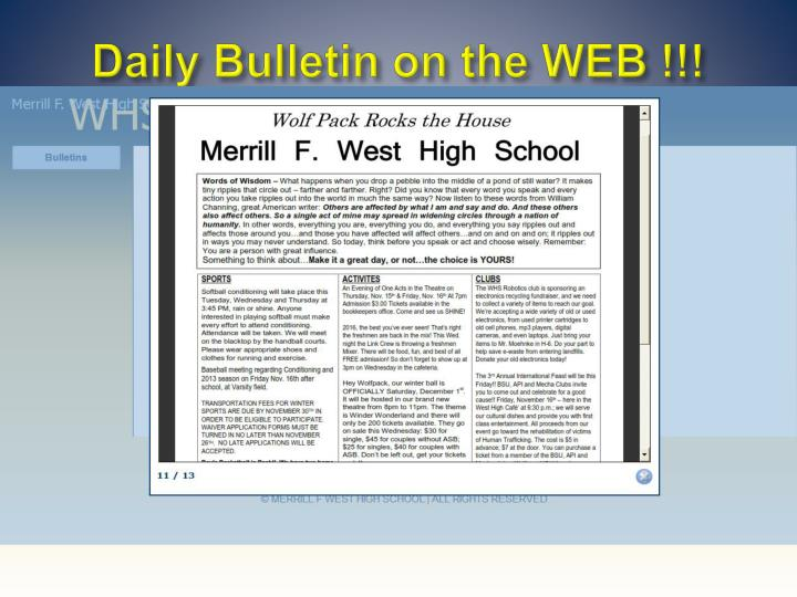 Daily Bulletin on the WEB !!!