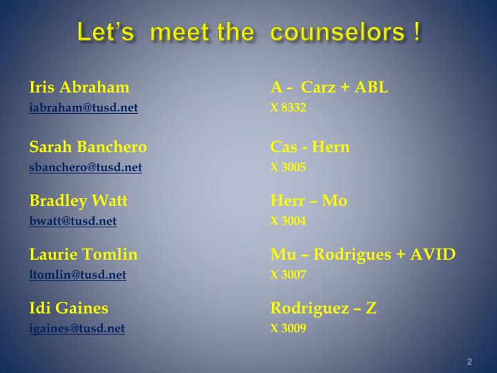 Let s meet the counselors