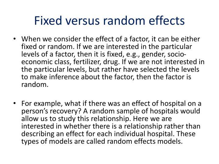 Fixed versus random effects