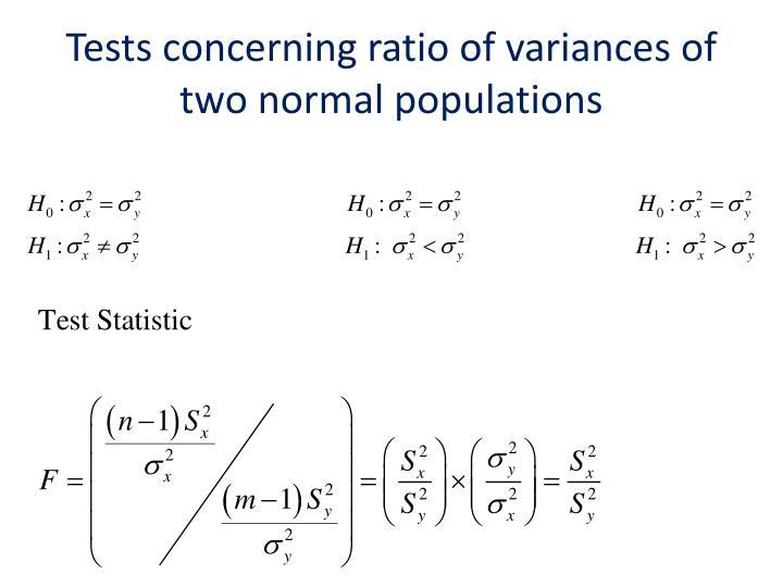 Tests concerning ratio
