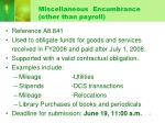 miscellaneous encumbrance other than payroll