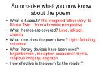 summarise what you now know about the poem10