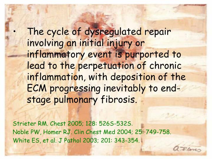 The cycle of dysregulated repair involving an initial injury or inflammatory event is purported to lead to the perpetuation of chronic inflammation, with deposition of the ECM progressing inevitably to end-stage pulmonary fibrosis.