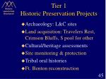 tier 1 historic preservation projects